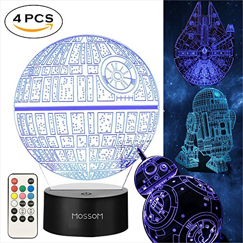Star Wars Gifts 3D Lamp - Star Wars Toys 3D Night light,4 Patterns and 7 Color Changing with Remote or Touching,Decorating Kids Bedroom.2018 the Best Gifts for Star Wars Fans (4 Packs-Bigger-Brighter) -