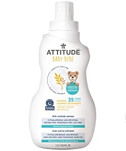 ATTITUDE Sensitive Skin, Hypoallergenic Baby Laundry Detergent, Fragrance Free, 33.8 Fluid Ounce, 35 Loads
