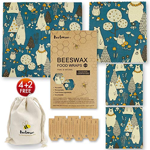 Reusable Beeswax Wrap by Beetomee, Breathable Veggie Sandwich Snack Storage, Sustainable Plastic-free Food Storage - Set of 4 (Forest Bear)