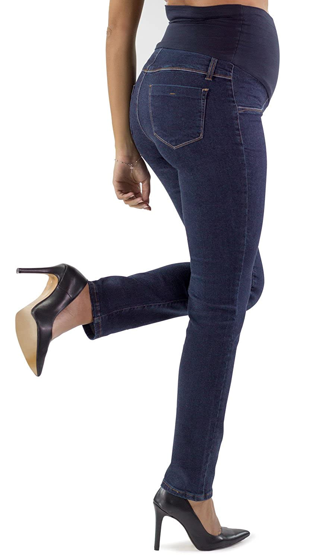 MAMAJEANS Roma Basic Jeans Premaman dalla vestibilit/à Slim Made in Italy Tessuto Elasticizzato e Fascia in Morbido Jersey Ideale per La Tua Gravidanza