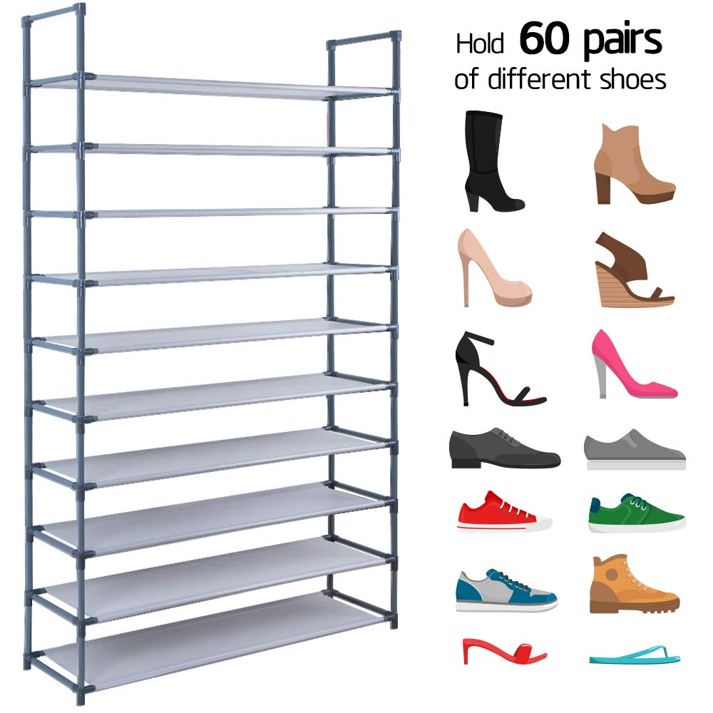 10 Tiers Shoe Rack Stackable Narrow Expandable For 60 Pairs Shoes Non-Woven Fabric Shoe Storage Organizer Cabinet Tower Shelf Space Saving DIY Assembly No Tools Required Hold High Heeled Shoes Flats