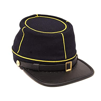 be910471af1 Amazon.com  Civil War American Union State Militia Navy Blue with Yellow  Braid Cavalry kepi  Clothing