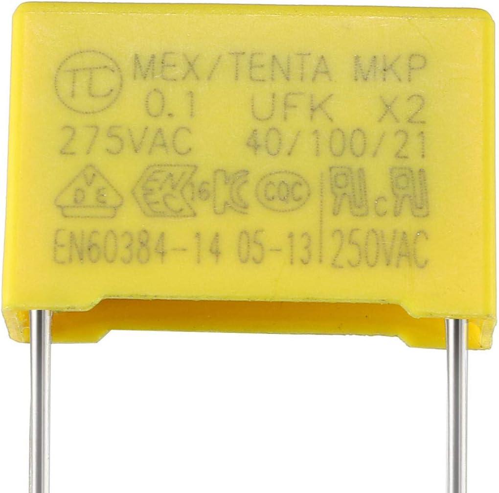 sourcing map 10 Pcs 0.22uF 10/% Polypropylene Film S/écurit/é Condensateurs
