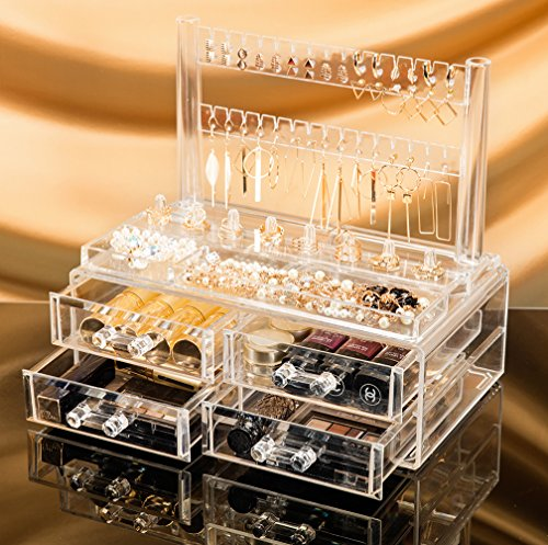 [Choice Fun Jewelry and Cosmetic Storage 2 Piece Acrylic Makeup Organizer Transparent QFJJSN-NSF-2195R] (Contemporary Modern Palette)
