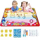 """Gloween Water Doodle Mat, Kids Toys Aqua Drawing Mat for Boys Girls Age of 2 3 4 5-8 Year Old, Large Painting Writing Coloring Mats with 3 Magic Pens,22 Drawing Molds Educational Toy Gift,34.5""""X22.5"""""""