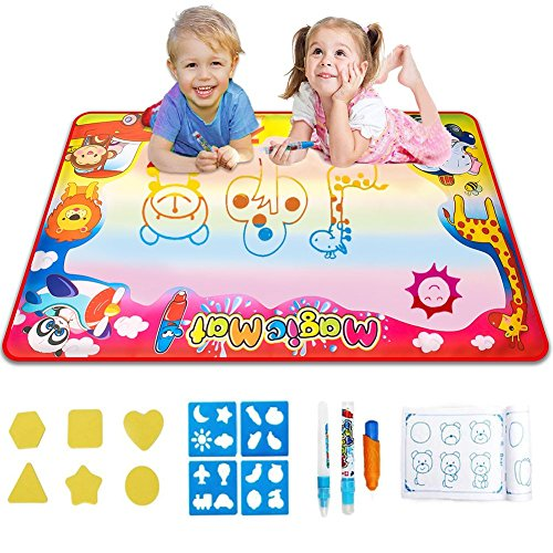 Gloween Water Doodle Mat, Kids Toys Aqua Drawing Mat for Boys Girls Age of 2 3 4 5-8 Year Old, Large Painting Writing Coloring Mats with 3 Magic Pens,22 Drawing Molds Educational Toy and Gift -Size 34