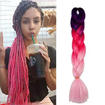 Women Heat Resistant Fiber Ombre Jambo Braids Girl Hair Extension African 24inch Synthetic Braiding Hair Lady Gradient Dreadlock Jumbo Braids Hair Braids