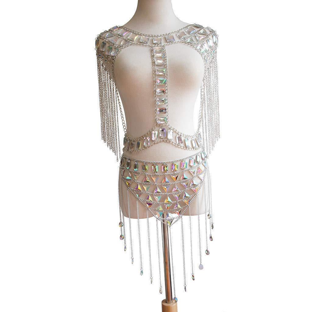 Jhualeek Sexy Jewelry Set Womens Rhinestone Body Chain Bra Belly Tassel Dress Chain Swimsuits (Silver, Acrylic)
