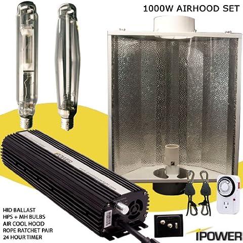iPower 1000W HPS MH Bulbs Air Cooled Reflector Hood Set 1000 Watt Digital Dimmable Ballast Grow Light System Kits for Indoor - Reflector Kit