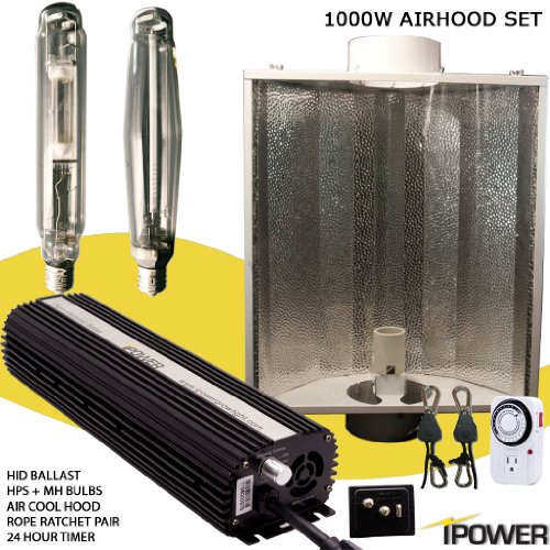 iPower 1000 Watt HPS MH Digital Dimmable Grow Light System Kits Air Cooled Reflector Hood Set (Kit Hood Air)