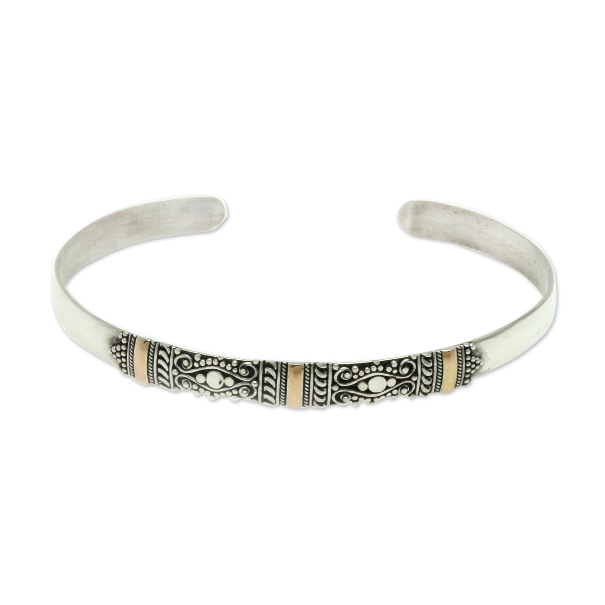 NOVICA 18k Yellow Gold Plated Accent .925 Sterling Silver Cuff Bracelet 'Vine Tendrils'
