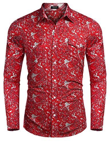 COOFANDY Men's Floral Dress Shirt Long Sleeve Slim Fit Paisley Shirt Casual Button Down Shirts (X-Large, Ponceau1)