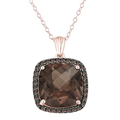 Amazon 14mm 9ct smoky quartz pendant in rose gold plated 14mm 9ct smoky quartz pendant in rose gold plated sterling silver with smoky quartz halo aloadofball Choice Image