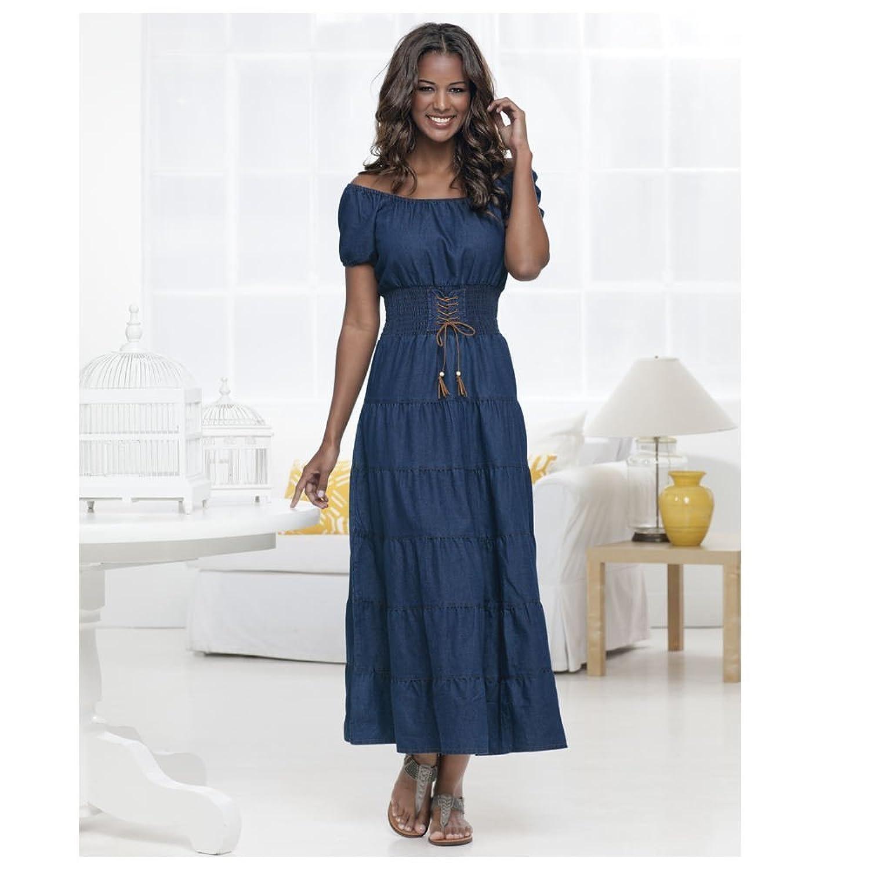 Amazon.com: Denim Tiered Maxi Dress: Clothing