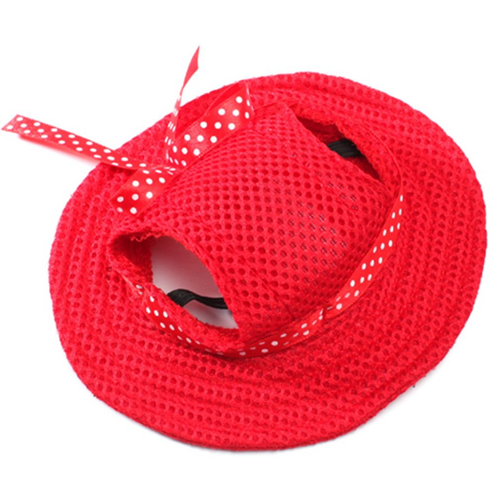 BUYITNOW Round Brim Small Dog Hat with Ear Holes Mesh Pet Sun Visor by BUYITNOW