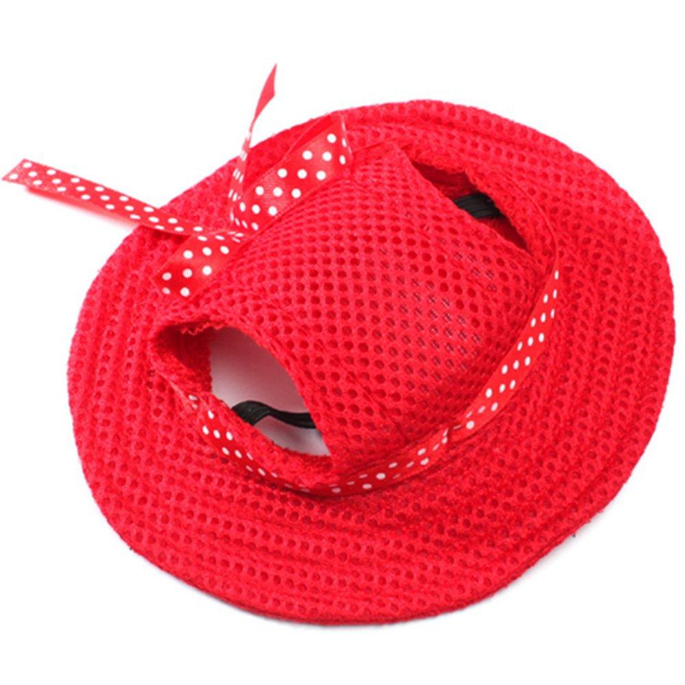 BUYITNOW Round Brim Small Dog Hat with Ear Holes Mesh Pet Sun Visor