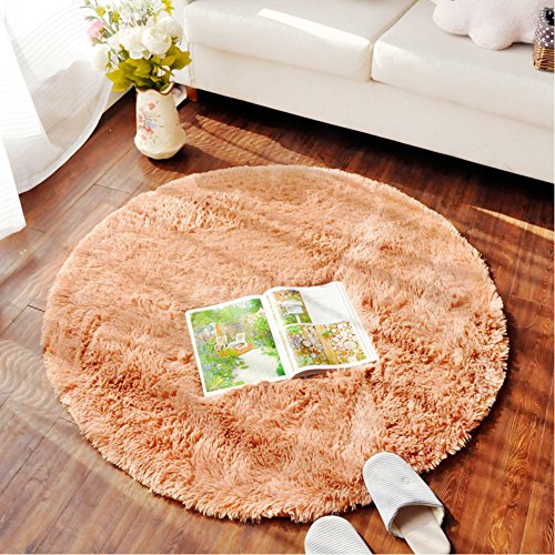 LOCHAS Round Area Rugs Super Soft Living Room Bedroom Home Shaggy Carpet 4-Feet (Khaki)