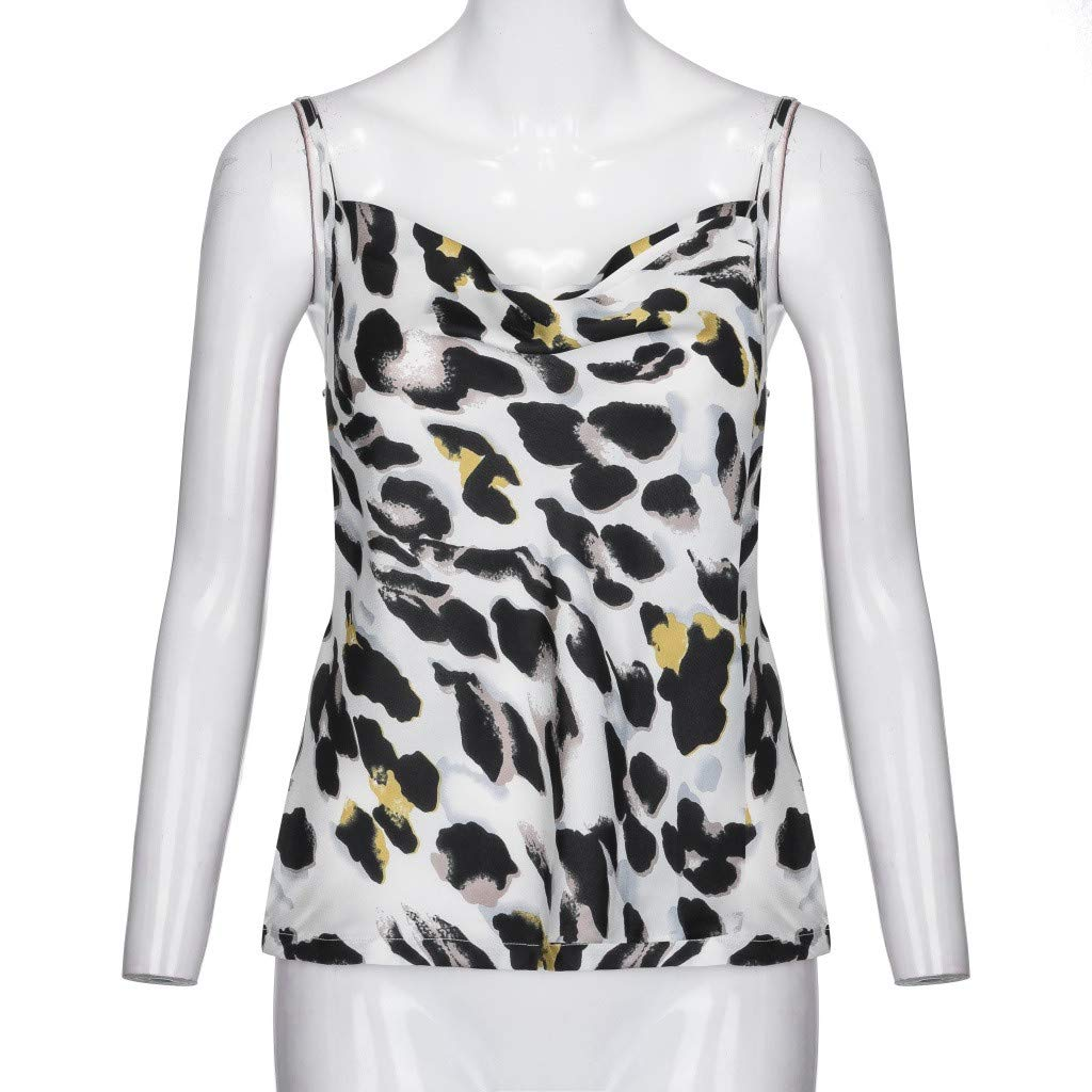 NUWFOR Women Ladies O-Neck Print T-Shirt Sleeveless Casual Tops Blouse Vest Tank(White,US M Bust:33.8'') by NUWFOR (Image #6)
