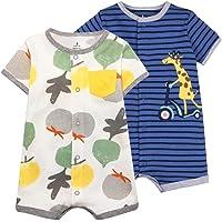 Baby pojkar sommar sparkdräkt 2 st - djur pyjamas kortärmad jumpsuit bomull bodysuit set spädbarn lekdräkt sovdräkt för…