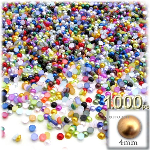 - The Crafts Outlet 1000-Piece Pearl Finish Half Dome Round Beads, 4mm, Multi Mix
