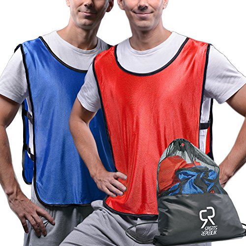 Sportsrepublik Pinnies Scrimmage Vests  12 Pack    Multiple Colors Practice Jerseys   Kids  Youth Or Adult Sizes   Red And Blue Large