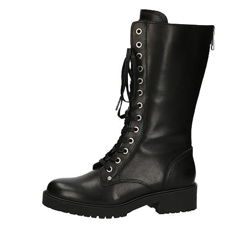 BULLBOXER Damen Stiefel 387513E7L,Frauen Stiefel,Langschaftstiefel,Schnürboots,Bootie,Reißverschluss