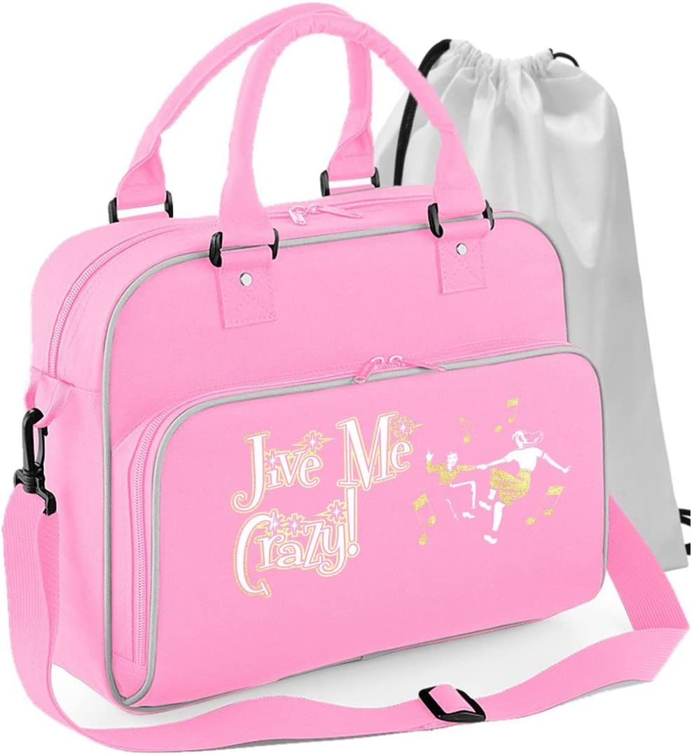 MusicaliTee Jazz Swing Jive Lindyhop Dancing Personalised Custom Dance Bag /& Drawstring Shoe Backpack