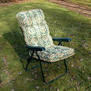 Garden Recliner Green Chair with Luxury Cushion - Cheltenham Green