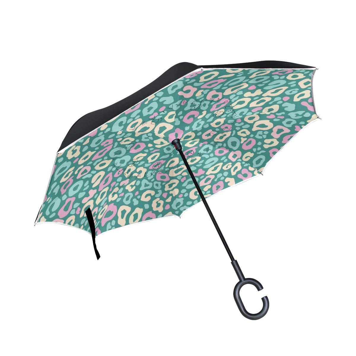 Orediy Paraguas invertido con Estampado de Leopardo, Doble Capa, Paraguas Grande para el Reverso del Coche, para Exteriores, Resistente al Viento, Lluvia, ...