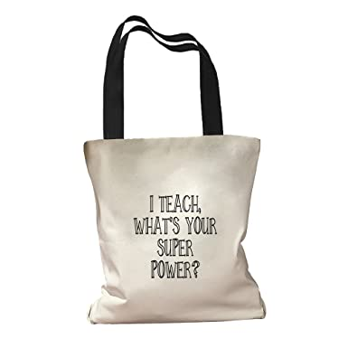 Amazon.com: I Enseñar ¿Cuál es tu Super Power lona bolsa de ...