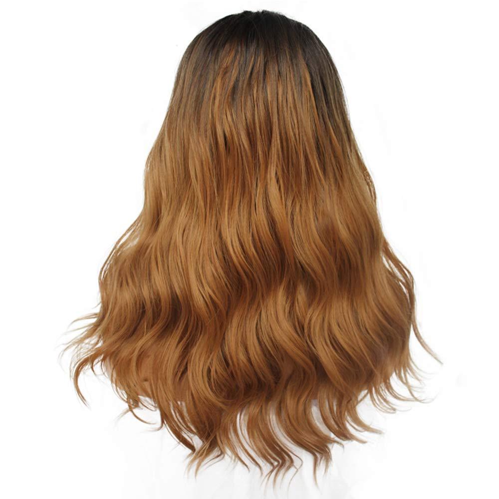 Capelli ricci ondulati delle donne, Pizzo frontale naturale Sezione media e lunga Marronee scuro dei capelli neri Parrucca sintetica Separazione intermedia Adatto a tutti i tipi di pelle