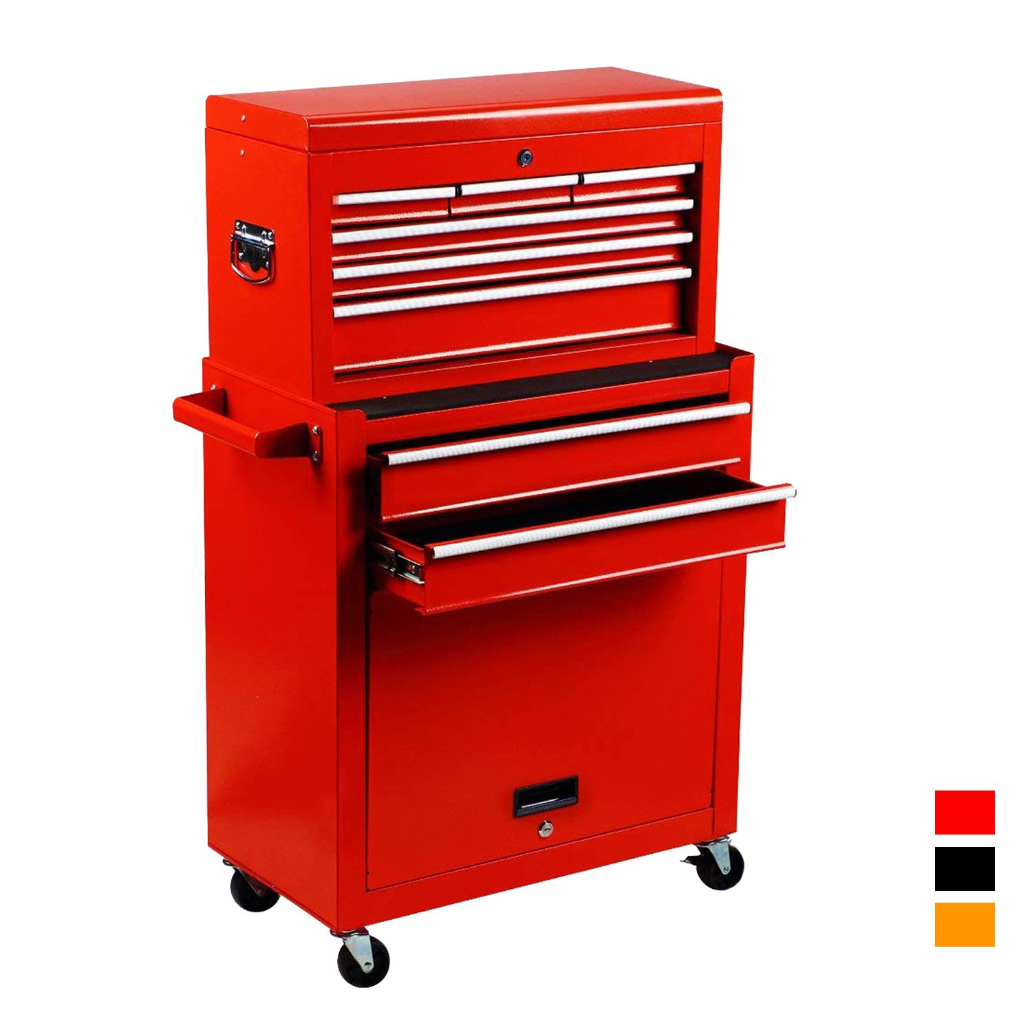2Pcs Tool Storage Box Portable Top Chest Rolling Tool Box Organizer Sliding Drawers Cabinet Keyed Locking System Toolbox Red by Suny Deals (Image #1)