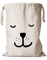 Canvas Laundry Large Drawstring Sleeping Bear Bag Hamper Organizers Storage for Kids Toys, Baby Clothing, Children Books, Gift Bag