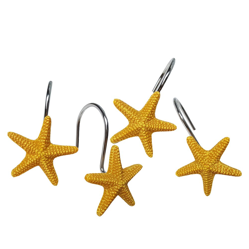 Chictie Yellow Starfish Shower Hooks Chrome Rust Proof Shower Curtain Rings for Bathroom Decorative Resin Star Hangers Set of 12