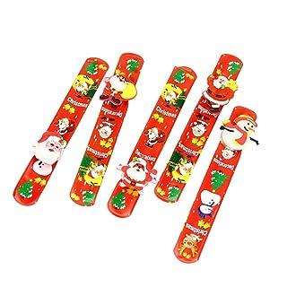Toyvian 5pcs Braccialetti di Schiaffo di Natale Light Up Slap bracciali Cinturini da Polso per Regali di Natale Festa favori