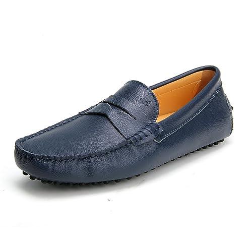 Ausland - Mocasines de Piel para Hombre Azul Azul: Amazon.es: Zapatos y complementos
