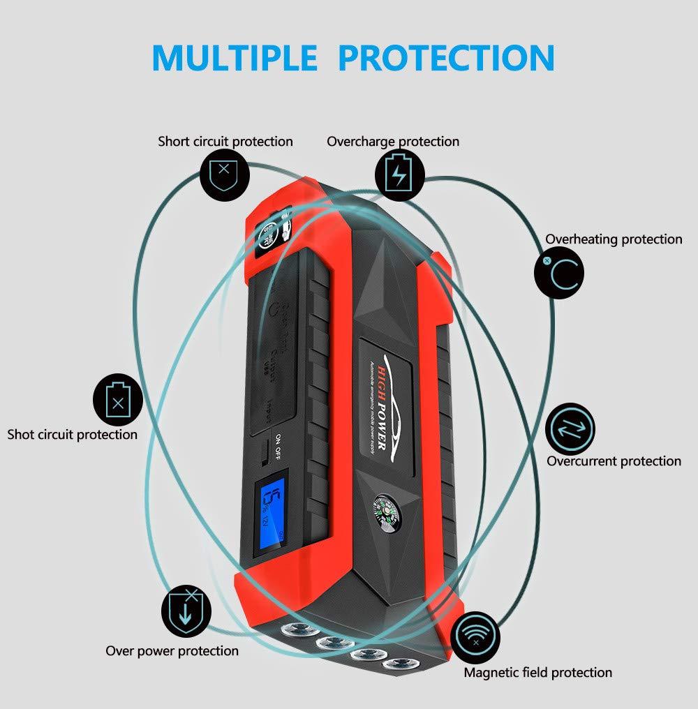 Sonmer Portable 89800mAh 12V LCD 4 USB Car Jump Starter,Super Bright LED Flashlight, Battery Power Bank For Notebook Mobile Phones Tablet by Sonmer (Image #5)
