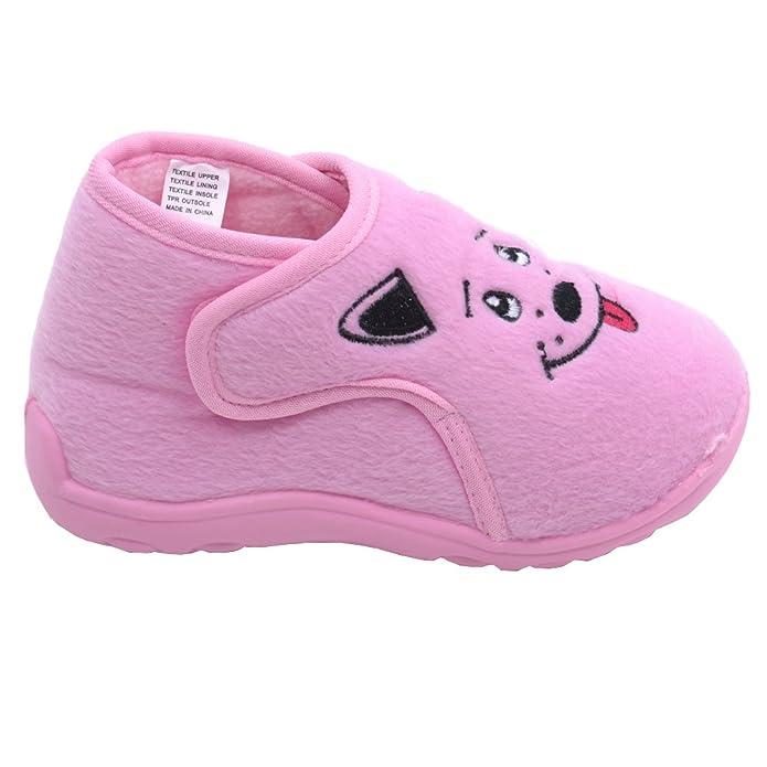 3b83c2c33d94ea No Karamel Corn Little Girls Pink Puppy Velcro Strap Fleece Sneakers 5  Toddler  Amazon.co.uk  Shoes   Bags