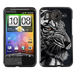 TECHCASE**Cubierta de la caja de protección la piel dura para el ** HTC G10 ** Ferocious Angry Mad Tiger Black White