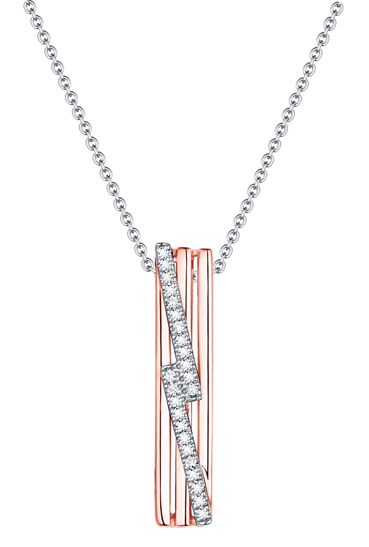 Prism Jewel G-H//I1 Natural Diamond Delicate Fancy Pendant 14k Rose//White Gold
