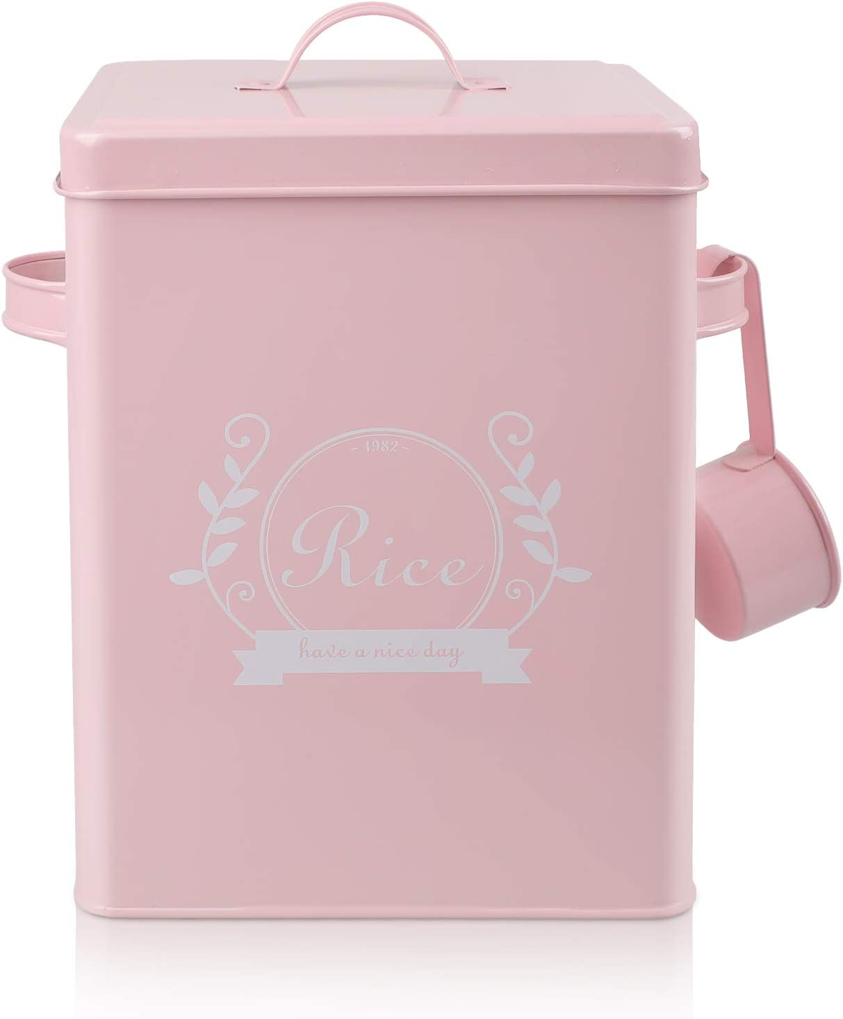 DAILYLIFE Square Metal Rice Flour Food Sundries Kitchen Storage Tin Canister Bucket Containers Pink
