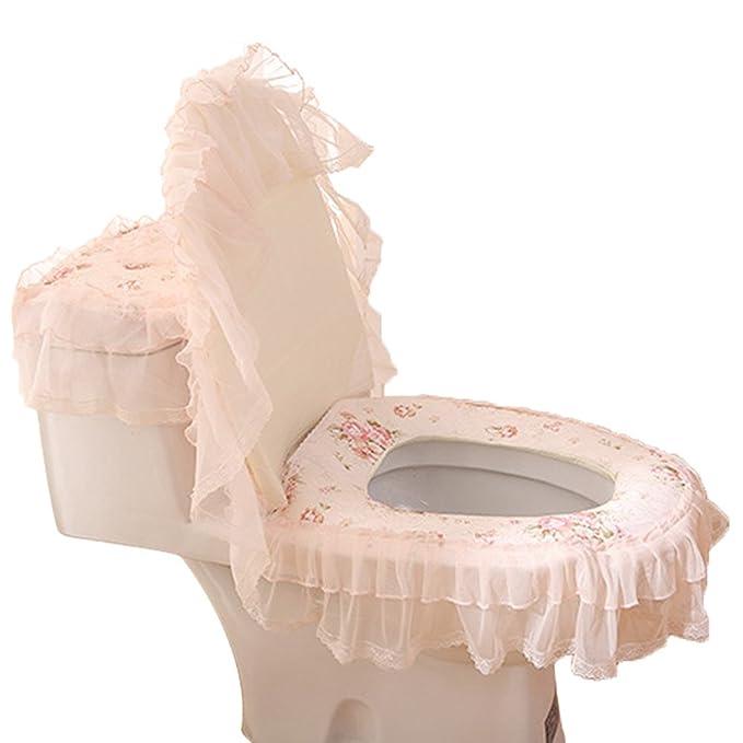 3PC Toilet Seat Bathroom Cover Closestool Pad Tank Lid Cloth Lace Floral Set