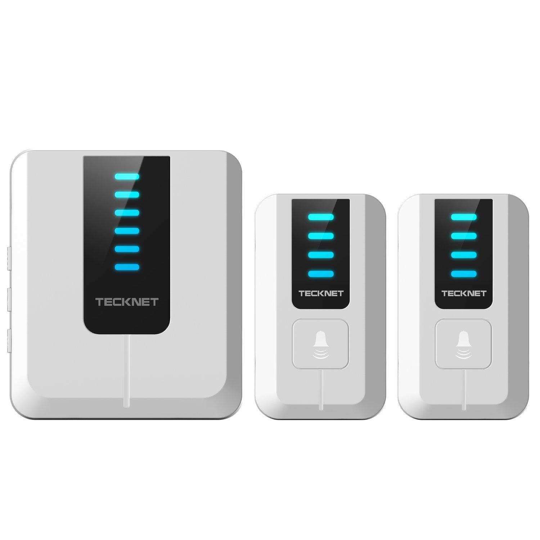 TeckNet® Timbre plug-in sin hilos inalámbrico a un rango de 300m de distancia con 52 sonidos de campana (2 Pulsador...
