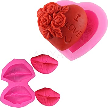 Anyana 2 Valentinstag Herz Blumen Rote Lippe Silikon Fur Fondant