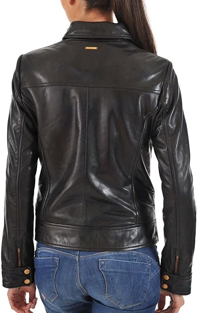 New Womens Leather Motorcycle Slim Fit Sheep Leather Jacket Coat LTW331