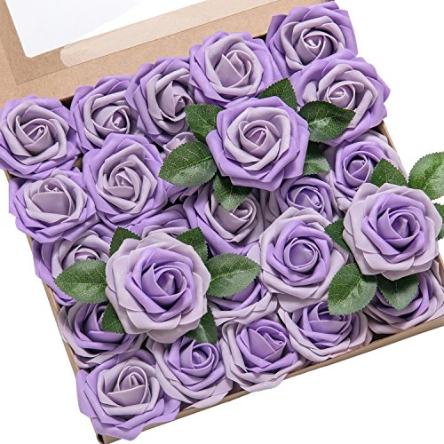 Wedding Heirloom Rose (ling's moment Artificial Flower Light Purple Heirloom Roses 25pcs Real Looking Fake Roses w/Stem for DIY Wedding Bouquets Centerpieces Party Baby Shower Home Décor)