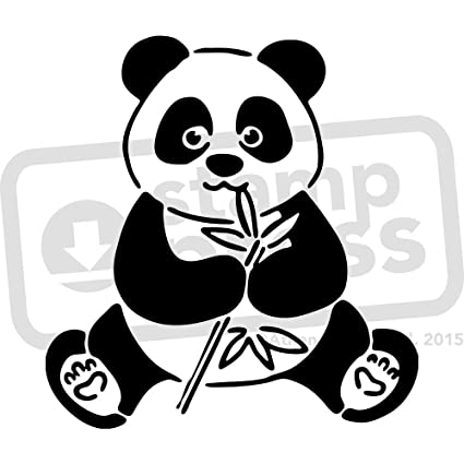 amazon com a5 panda eating wall stencil template ws00003564