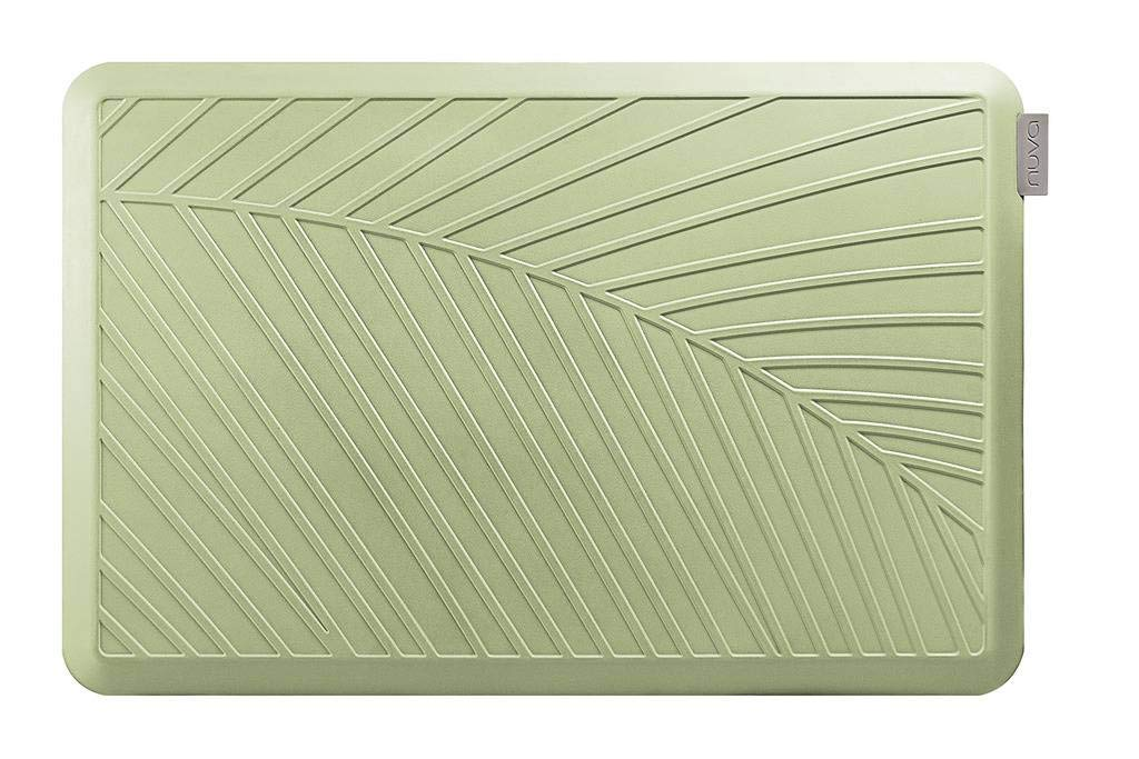 NUVA Anti Fatigue Standing Floor Mat 36 x 24 in, NO PVC!!! 100% PU Comfort Ergonomic Material, 4 Non-slip PU Elastomer Strips on Bottom, 5 Safety Test by SGS (Lime Green, Palm Pattern)