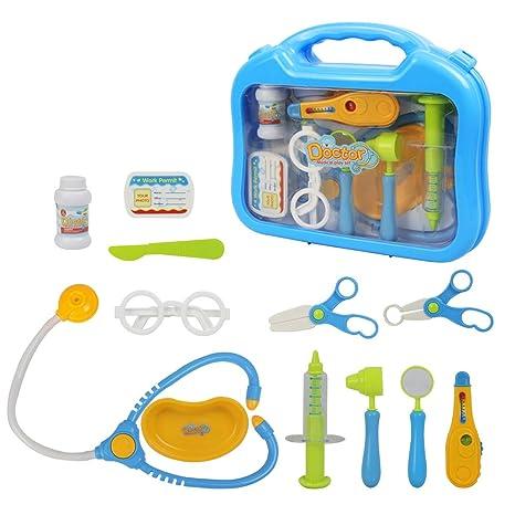 b0d5d92d45 jerryvon Valigetta Dottore Giocattolo con Accessori del Dottore Gioco di  Ruolo per i Bambini 3 Anni