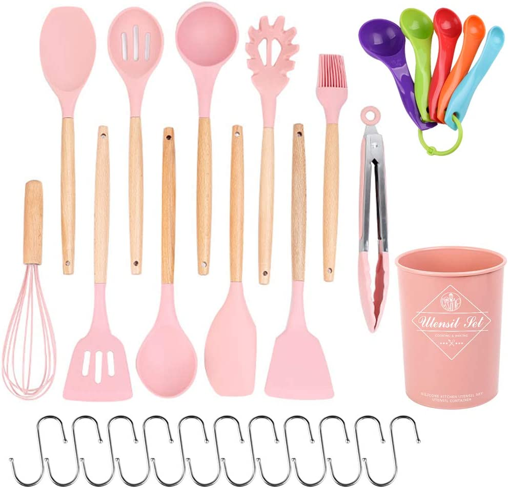 28 Pcs Kitchen Utensil Set, STRAWBLEAG 12 Pcs Non-Scratch Silicone Cooking Kitchen Utensils Set with 5 Pcs Measuring Spoons and 11 Pcs Hook, Heat Resistant Wooden Handle Cooking Utensil Set (Pink): Kitchen & Dining